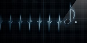 Horizontal Pulse Trace Heart Monitor with music note in line.